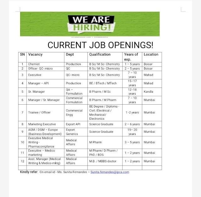 IPCA Labs | Multiple Vacancies at Boisar/Mahad/Mumbai | Send CV