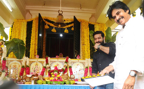 Pawan Kalyan attends Puja Ceremony of Jr NTR's next Movie