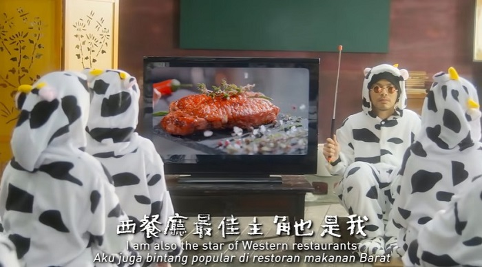 Children wearing cow costume adorable