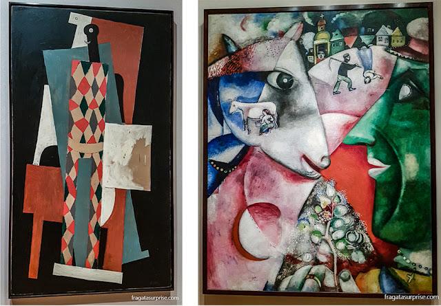 """""""Arlequim"""", de Pablo Picasso e """"Eu e a Vila"""", de Marc Chagall, no MoMA"""