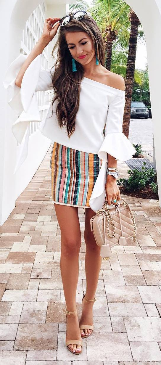 cute summer outfit: white top + skirt + bag