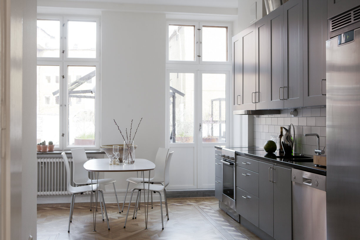 beautiul scandinavian apartment with luxury elements, mid century modern furniture, kitchen