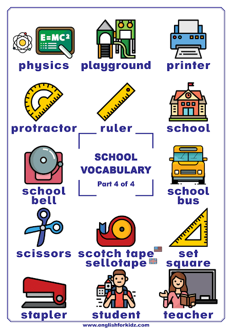 School supplies vocabulary and other words related to school in English