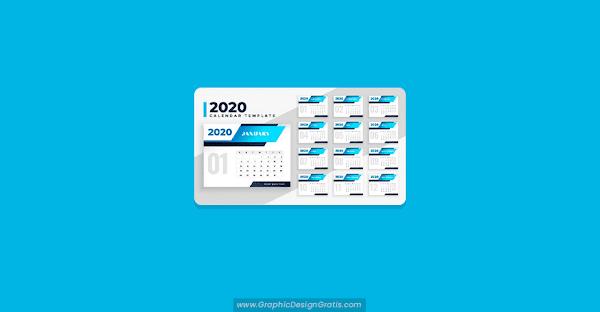 Plantilla de calendario 2020 con un diseño moderno