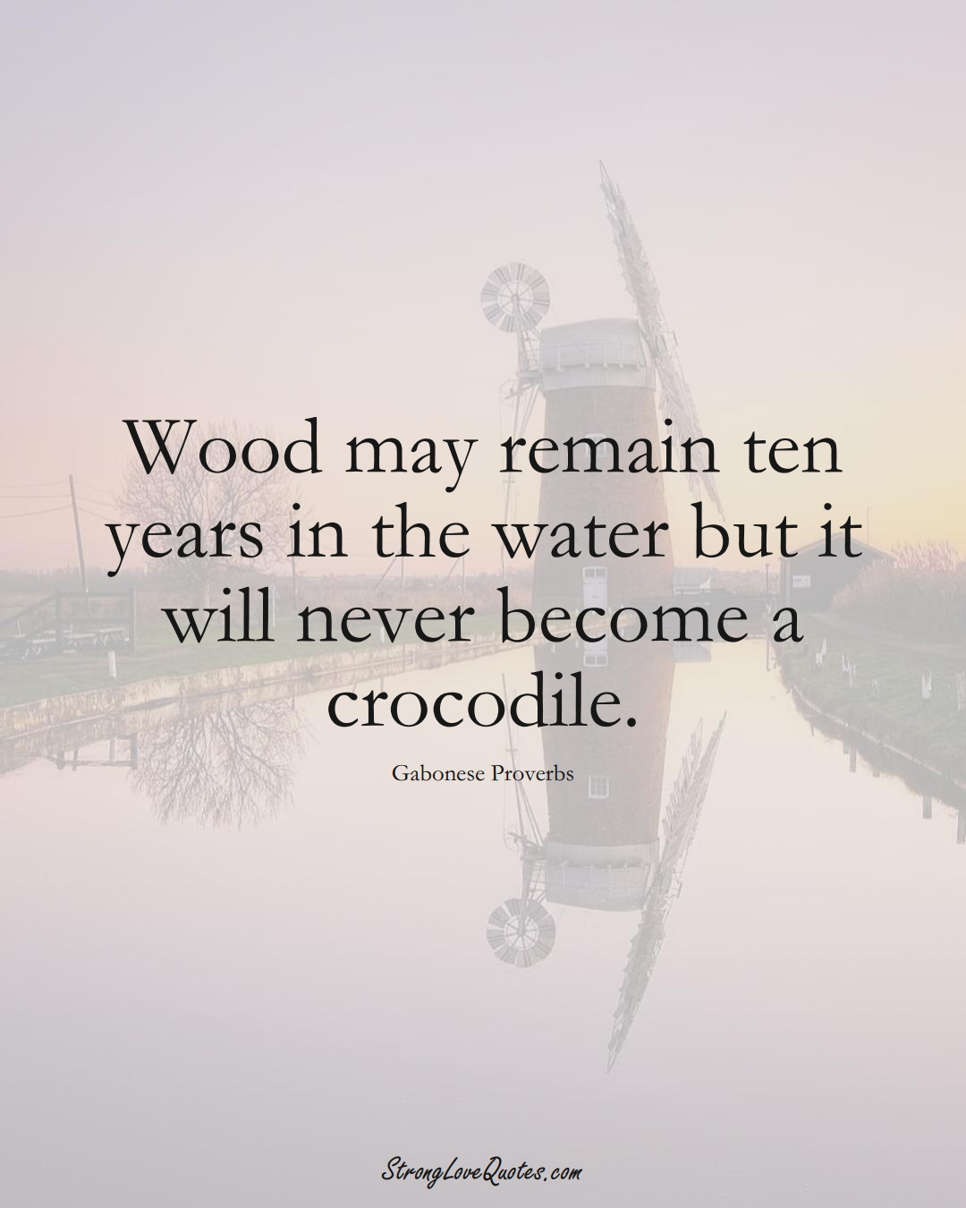 Wood may remain ten years in the water but it will never become a crocodile. (Gabonese Sayings);  #AfricanSayings