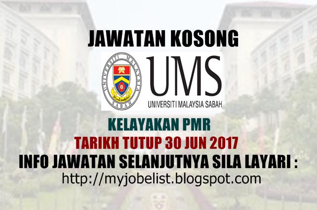 Jawatan Kosong di Universiti Malaysia Sabah (UMS) Jun 2017