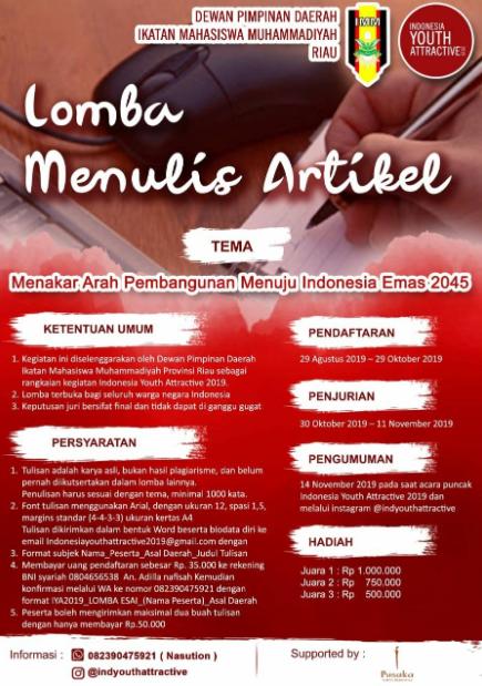 Lomba Menulis Artikel Nasional 2019 di IMM Riau