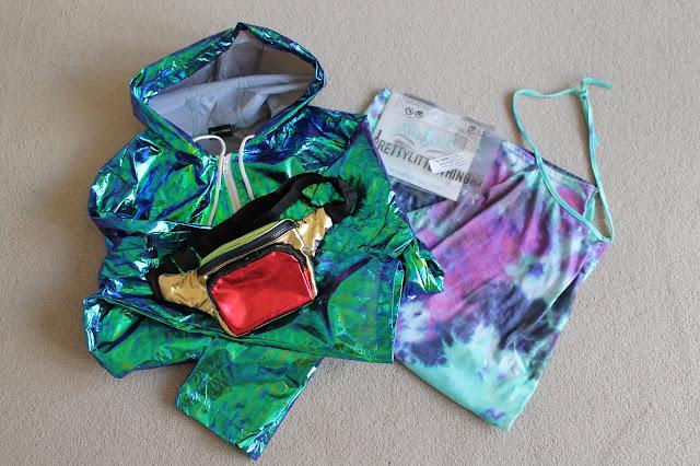 Bad Habits T-Shirt Dress, PrettyLittleThing, Cobie Green Holographic Rain Mac, Nicki Kinickie, Giveaway, Festival Looks, Tie Dye Dress, Face Jewels, Bum Bag,