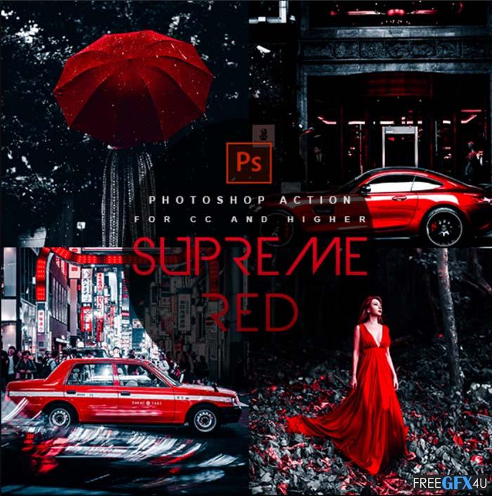 Supreme Red Premium Photoshop Action
