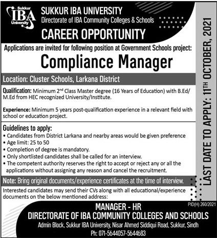 Sukkur IBA University Job 2021 For Compliance Manager