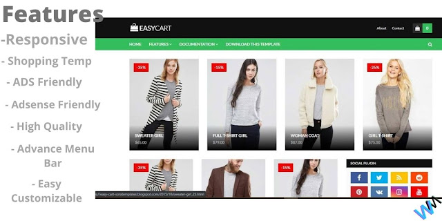 1. Easy Cart Blogger Affiliate Or Shopping Template.