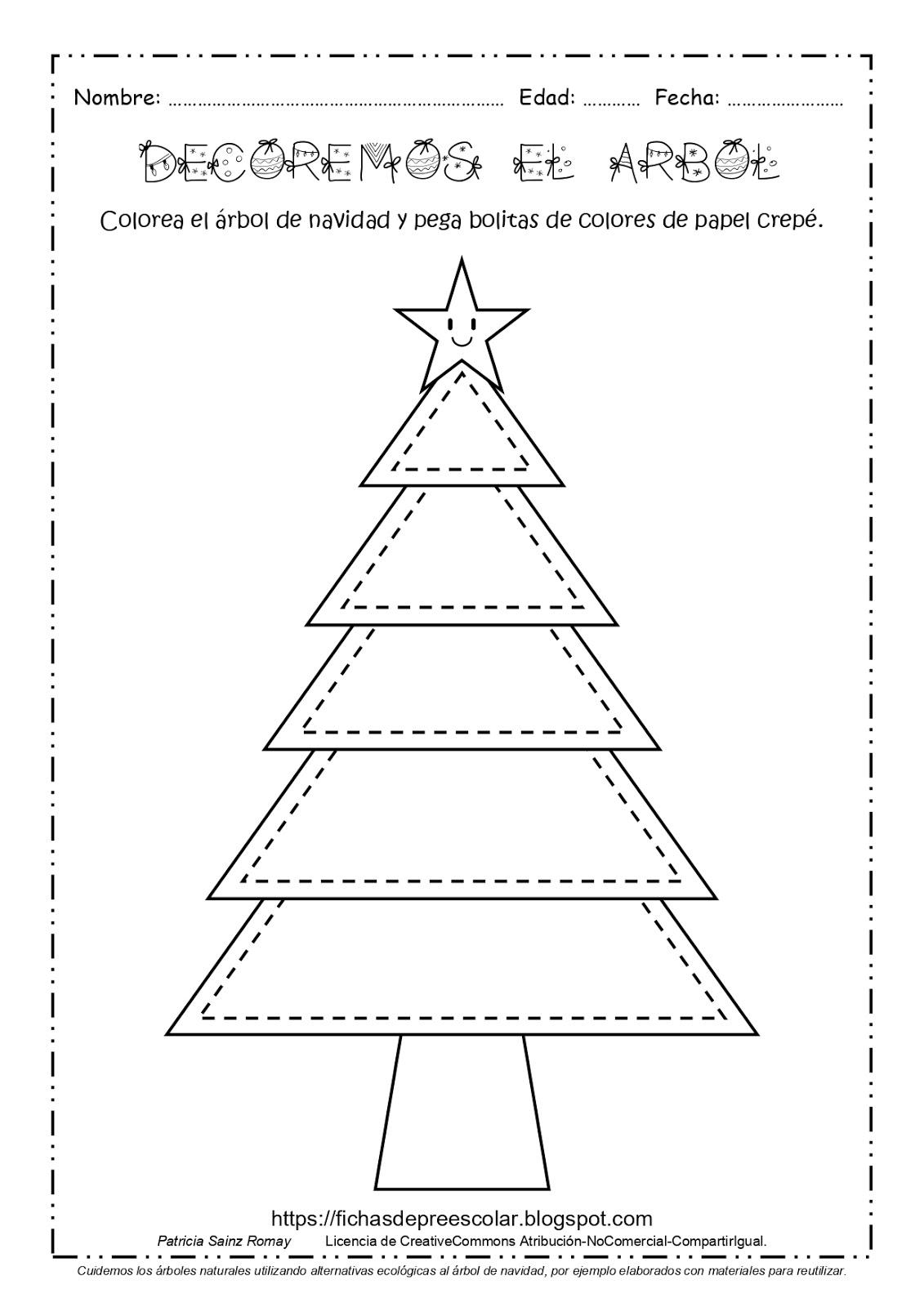 Fichas De Educación Preescolar Arbol De Navidad Para