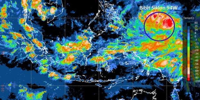 Waspadai Bibit Siklon Tropis 94W, Potensi Banjir di Sulut dan Maluku