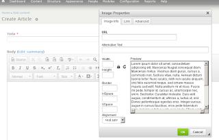 Jendela menambahkan gambar default CKEditor