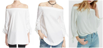 One of these off-the-shoulder tops is from Tibi for $295, one is from Free People for $78, and one is from Express for $40. Can you guess which is the lowest, medium, and most expensive top? Click the links below to see if you are correct!