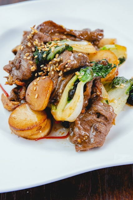 Stirfried Beef with Leafy Greens & Black Bean Sauce