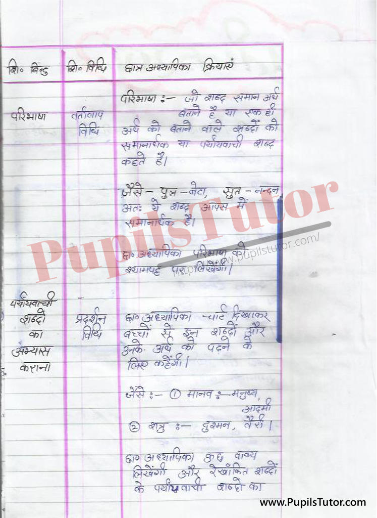 Paryayvachi Shabd par Lesson Plan in Hindi for BEd and DELED