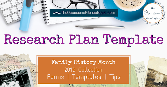 Research Plan Template from The Occasional Genealogist