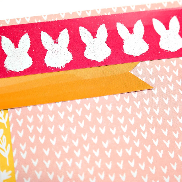 How to stencil and emboss white bunnies onto pink patterned paper.
