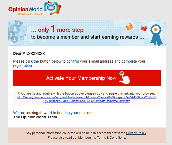 Activate your account - Opinionworld