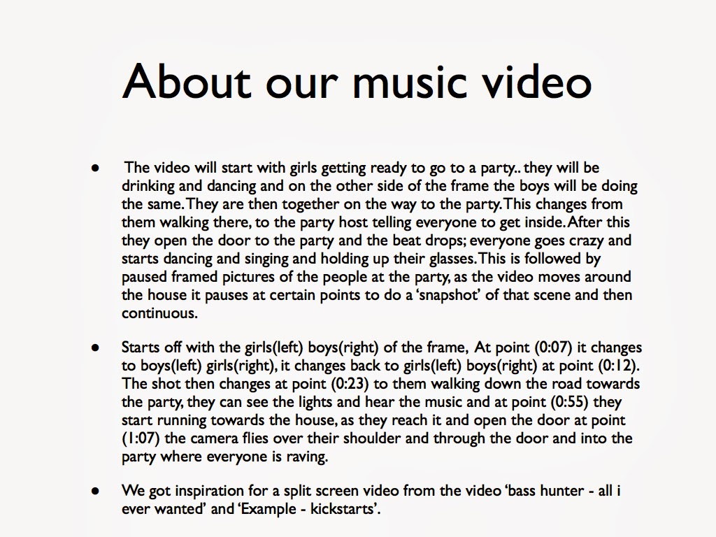 A2 music video production media studies treatment for Video treatment template