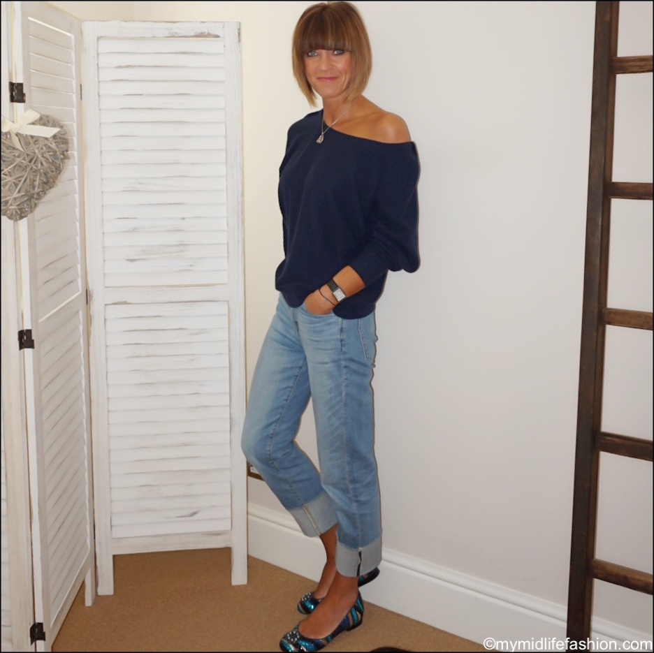 my midlife fashion, Susana Cabrera Marta media luna, j crew high rise slim boyfriend eco jean with tall cuff, iris and ink off the shoulder cashmere jumper