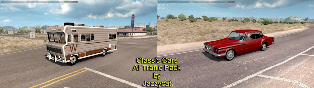 ats classic cars ai traffic pack v3.7 by jazzycat screenshot, new classic cars with v3.7, Winnebago Chieftain '73, Plymouth Valiant '62