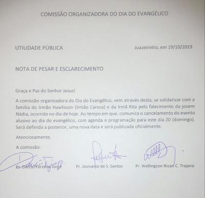 Evento do dia do Evangélico em Juazeirinho é cancelado