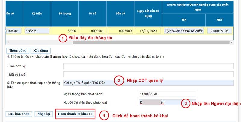 Hình 9 - Nhập thông tin trên Thông báo phát hành hóa đơn điện tử Viettel và nhấn Hoàn thành