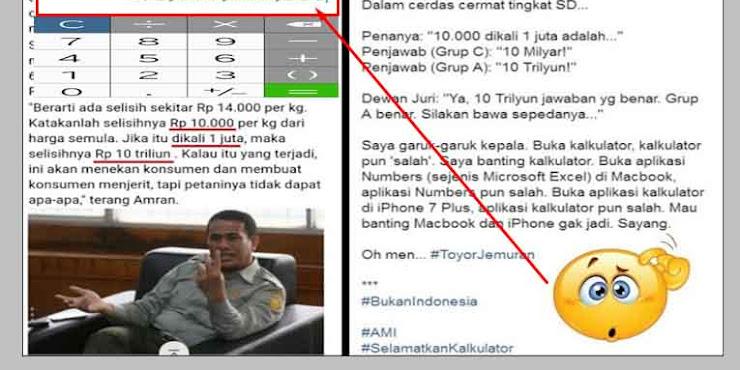 Kata Mentan: Total Kerugian 10.000 X 1 Juta = 10T , Netizen : Banting Aja Kalkulatornya Pak