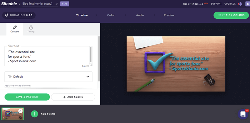 Biteable puts a variety of video templates organized by use case at your fingertips.