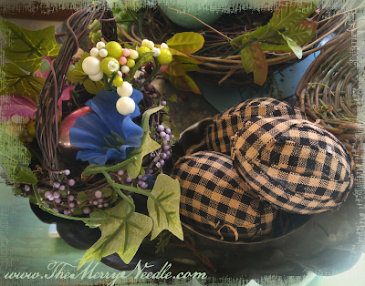 homespun check checked easter eggs fabric covered