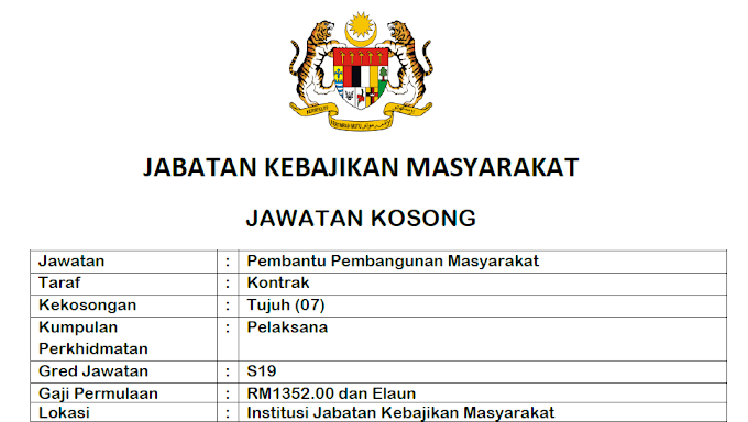 Jawatan Kosong Terkini di Jabatan Kebajikan Masyarakat (JKM).