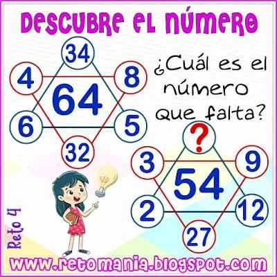 Cuadrado mágico, Desafíos matemáticos, Retos matemáticos, Problemas matemáticos, Retos mentales, Descubre el número, Busca el número, El número oculto, Estrella numérica