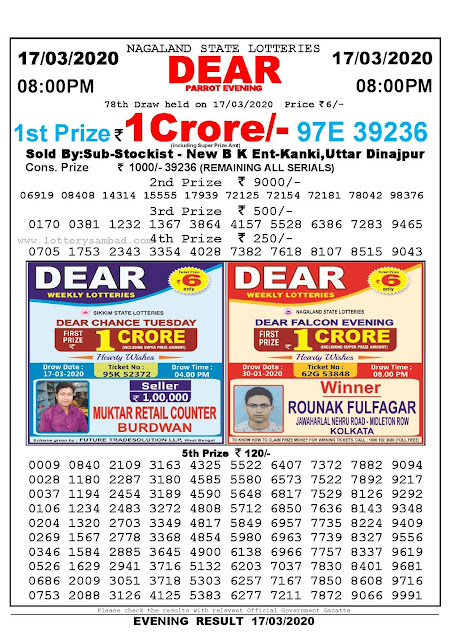 Nagaland State Lotteries 17-03-2020 Lottery Sambad Result 8:00 PM