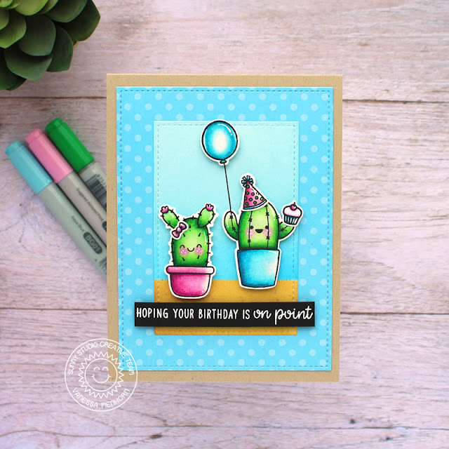 Sunny Studio Stamps: Looking Sharp Stitched Rectangle Dies Cactus Themed Punny Birthday Card by Vanessa Menhorn