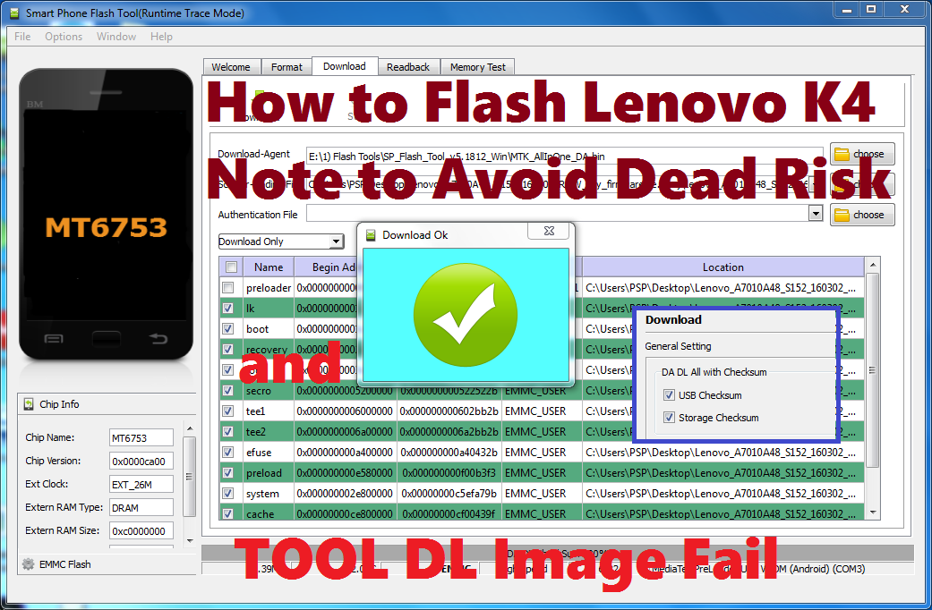 How to Flash Vibe Lenovo K4 Note - Avoid Dead Risk and Tool DL Image