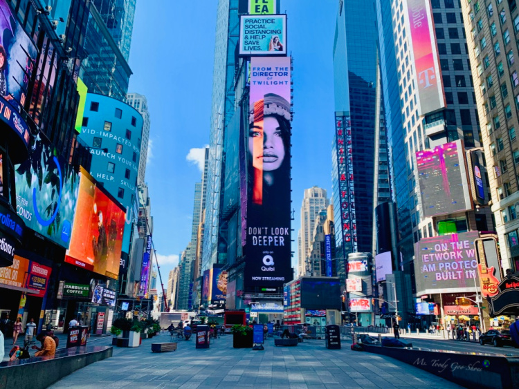 Times Square in times of Covid-19,  New York City, NY  _ Ms. Toody Goo Shoes