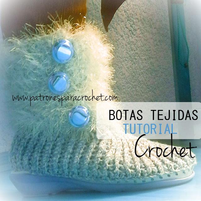 Botas crochet con suela de goma / Tutorial | Patrones para Crochet