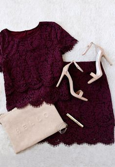 Burgundy outfit styling