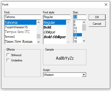 Selected font options for six labels