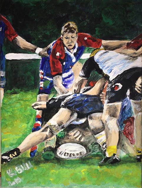 peinture acrylique, jeunes joueurs de rugby à Nontron