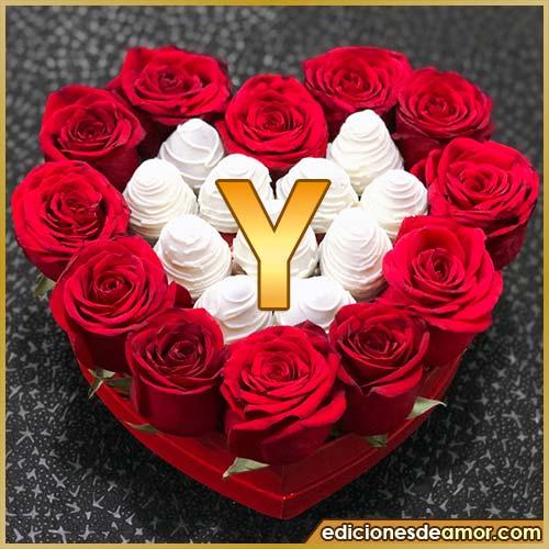 corazón de rosas rojas Y
