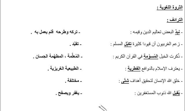 مذكرة لغة عربية الإسلام والكبت الصف العاشر الفصل الثاني