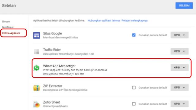 Kelola Aplikasi Untuk Lihat Cadangan Chat WhatsApp