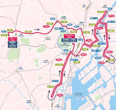 Maraton Tokio - Tokyo Marathon course