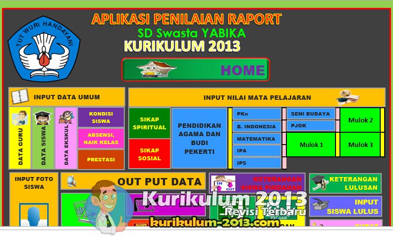 Aplikasi Raport Kurikulum 2013 SD Versi Revisi Permendikbud - Raport Kurikulum 2013