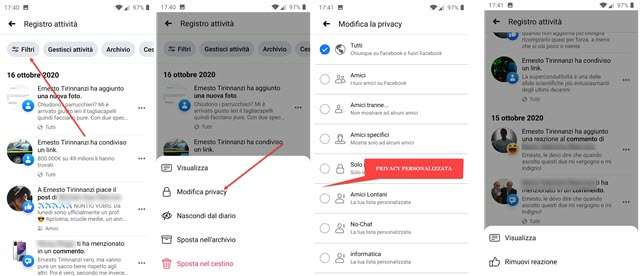 privacy facebook da app per il mobile