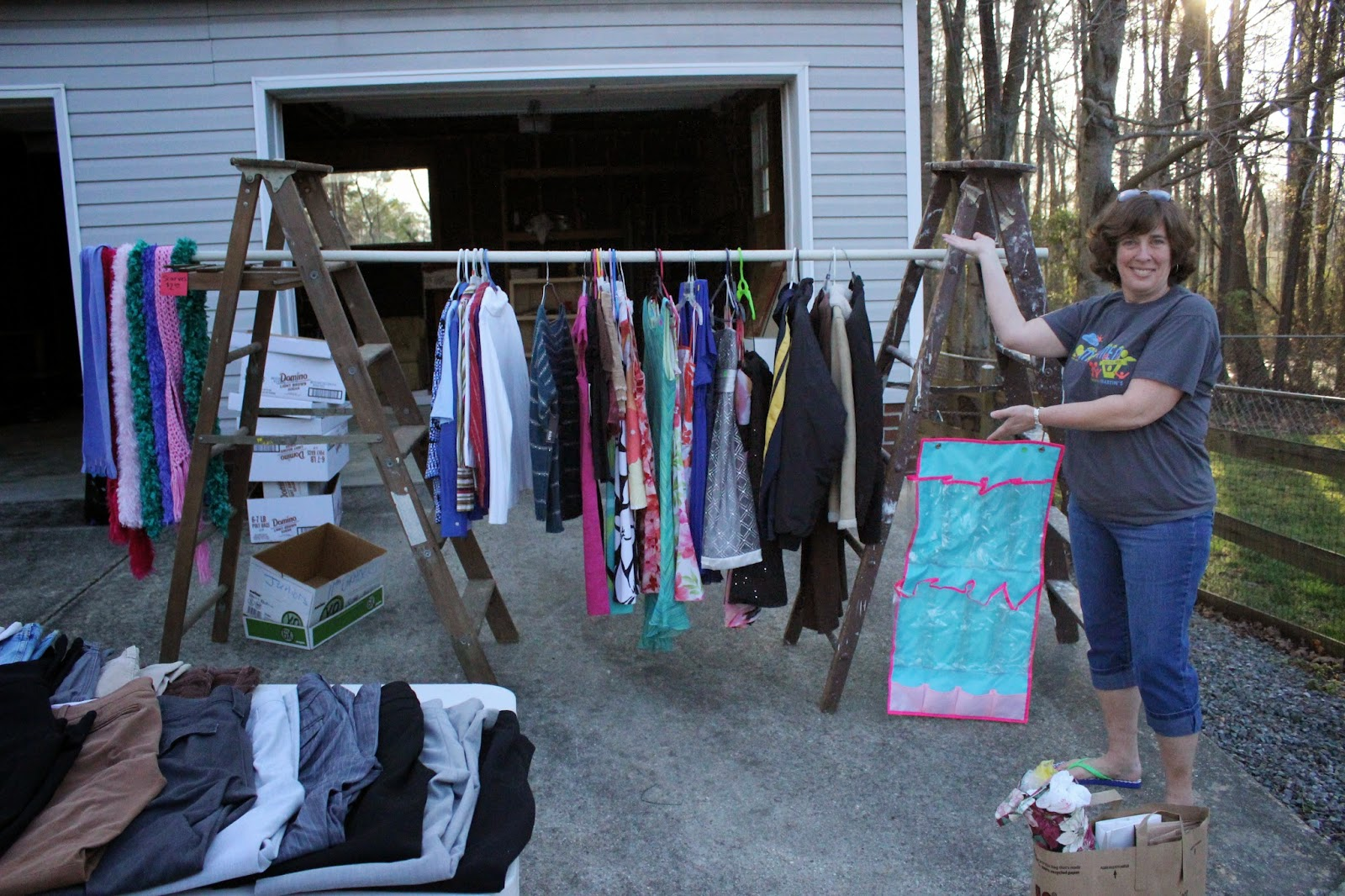 The Nolte Fam: Our First Yard Sale on homemade round clothes rack for garage sale, yard sale, ghetto garage sale, ideas for garage to hang clothes on sale,